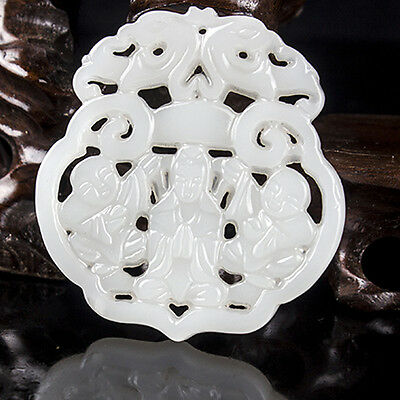 Ancient Chinese natural hot white jade carved Guanyin pendant amulet @27