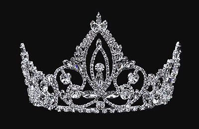 Rhinestone tiara - 4 inches high - crystals & silver-plated metal - combs