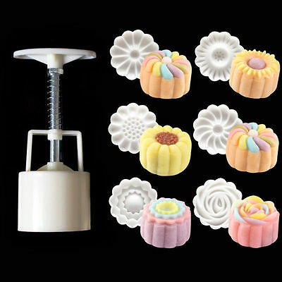 6PCS Style Stamps 50g Round Flower Moon Cake Mold Mould White Set Mooncake Decor