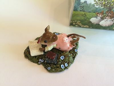 Wee Forest Folk M-410 MEADOW MUSINGS, Girl Mouse in Pink - MINT