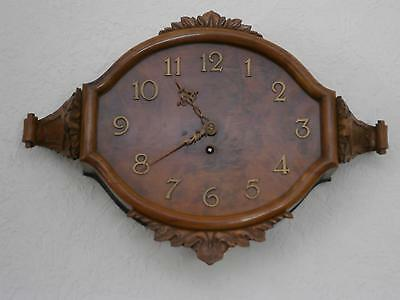 Burr Walnut Oval 1950s Wall Clock in Good Working Order