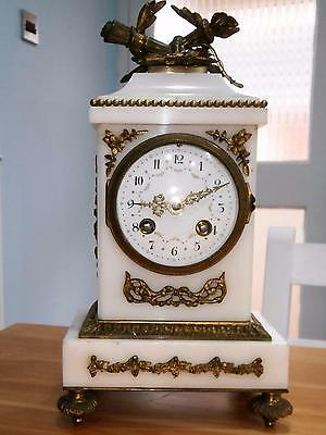 French White Marble & Ormolou Eight Day Clock  G.W.O