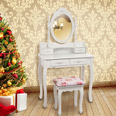 White Luxury Dressing Table Makeup Desk with Cabinet 4 Drawers Mirror Set &Stool