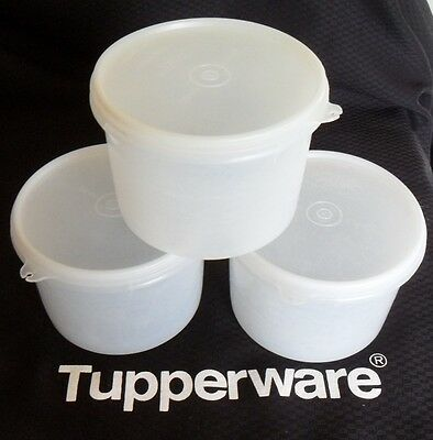 Tupperware - Vintage Round Clear Stacking Canisters - Good Condition