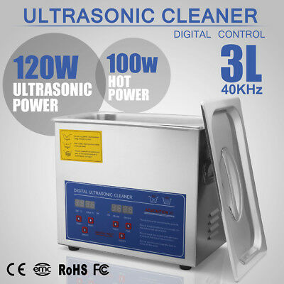 New Stainless Steel 3 L Liter Industry Heated Ultrasonic Cleaner Heater w/Timer!
