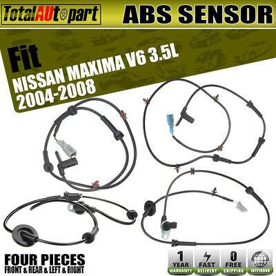 4x ABS Wheel Speed Sensor for Nissan Maxima SE SL 04-08 V6 3.5L Front Rear L&R