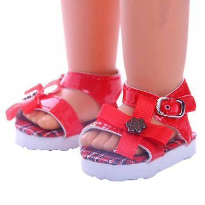 Fashion Beach Sandals Summer Flat Shoes for 18inch American Girl Dolls Red