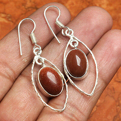 """Gold Stone 925 Sterling Silver Overlay Earrings 1.5"""" Jewelry ABK6813"""