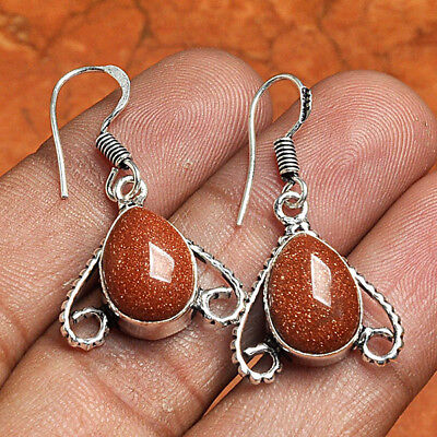 """Gold Stone 925 Sterling Silver Overlay Earrings 1.5"""" Jewelry ABK6819"""