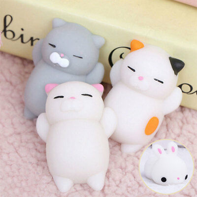 Squishy 3D Cartoon Soft Doll Stress Reliever Squeeze Cute Cat Smile Face Toy
