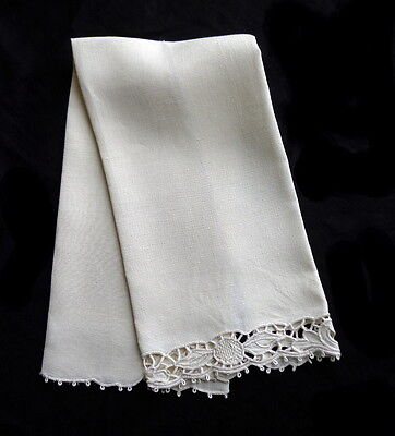 Antique Italian White Linen Towel Superb Hand Embroidery Cutwork (4 Available)