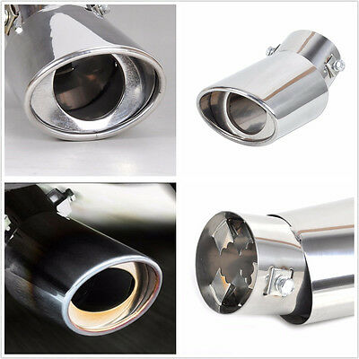 60mm Chrome Car Stainless Steel Round Tail Muffler Outlet Tip Pipe Exhaust Pipes