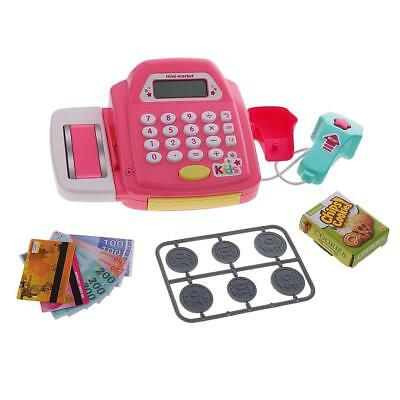 Electronic Cash Register Toy Pretend Playset Realistic Action Toy Games Pink
