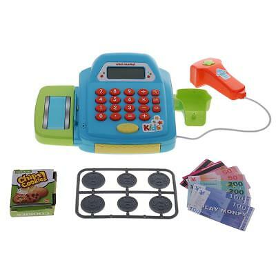 Electronic Cash Register Toy Pretend Playset Realistic Action Toy Games Blue
