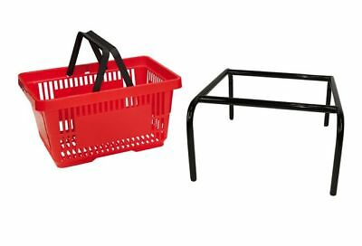 20 x Red Plastic Shopping Basket with FREE Black Metal Stacker