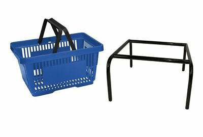 20 x Blue Plastic Shopping Basket with FREE Black Metal Stacker