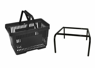 20 x Back Plastic Shopping Basket with FREE Black Metal Stacker