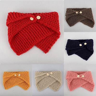 Kid Baby Girl Boy Warm Wool Knit Scarf Scarves Wrap Button Shawl Neckerchief