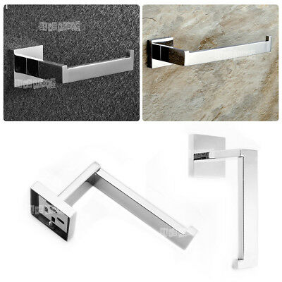 Toilet Paper Roll Holder Hook Hanger Square Cover Silver Wall Tissue Accessories