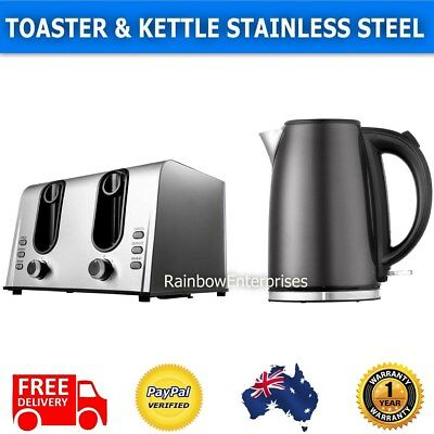TOASTER or KETTLE or SET Stainless Steel 4 Slice Toaster / Cordless Kettle Grey