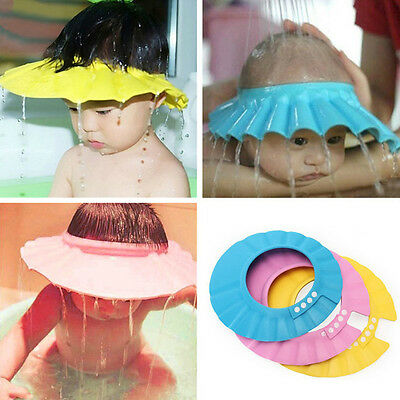 Adjustable Waterproof Baby Shower Cap Children Shampoo Bath Wash Hair Shield Hat
