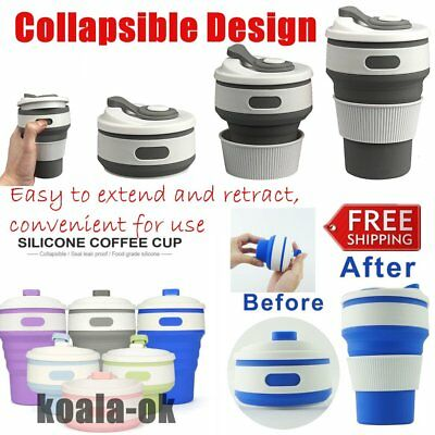 Stylish Collapsible Silicone Folding Retractable Mug Cup Portable For Outdoor T#