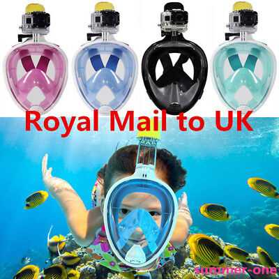 UK!! Full Face Snorkeling Mask Scuba Diving Swimming Snorkel Breather Pipe Gopro
