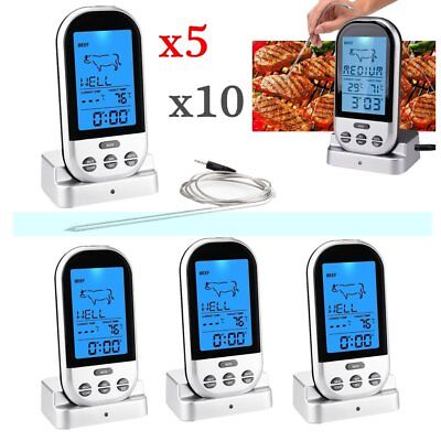 LOT Wireless LCD Remote Thermometer For BBQ Grill Meat Kitchen Oven Food Cooking