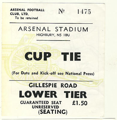 Ticket: Arsenal v Manchester City 24/1/1978 League Cup Replay