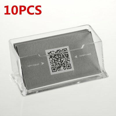 2/5/10pcs Clear Business Card Holder Display Stand Acrylic Plastic Desk Shell DQ