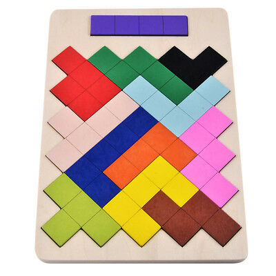 Kids Colorful Tetris Puzzle Tangram Brain Teaser Games Set Wooden Tetris Toy