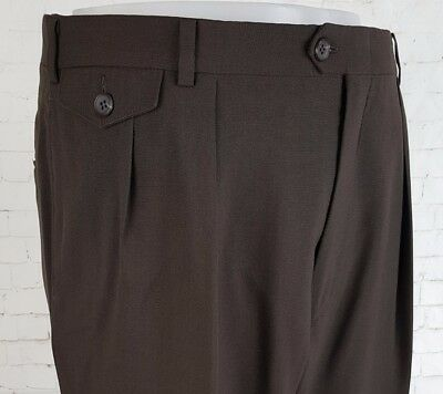 Vtg 70s Brown Pleated Tapered Lightweight Wool Blend 40s Style Trousers W34 ED09