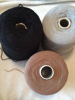 3x Machine Knitting FULL CONES  4Ply / Wool / Acrylic / GREY / TAUPE / BLACK (1A
