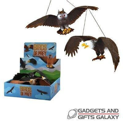 RUBBER FLYING EAGLE & OWL x 1 ass designs toy gift jokes novelty childs kids