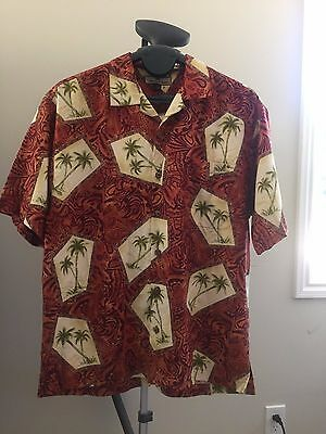 Mens Large Tommy Bahama  Hawaiian Shirt red with green and yellow palms