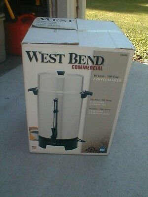 Nice West Bend Chrome 100 Cup Commercial Grade Coffee Maker IOB