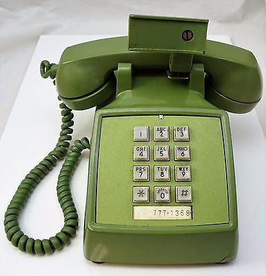 Vintage Bell System Western Electric Green Push Button Phone Telephone