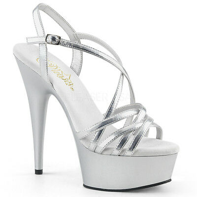 4a2529085ce9 Pleaser DELIGHT-613 Women s Silver Metallic Pu Heel Platform Criss-Cross  Sandals