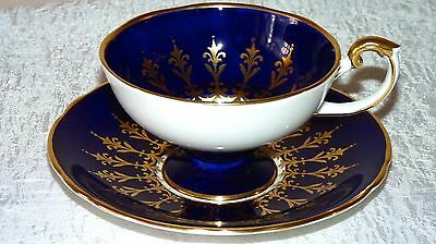 Aynsley Cobalt Blue Gold Gild Pedestal Tea Cup and Saucer