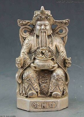 Chinese Folk Temple White Copper Bronze Silver Lucky God of wealth Boddha Statue