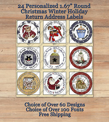 "24 CUSTOMIZED Holiday Christmas Winter 1.67 "" ROUND Return Address Labels Seals"