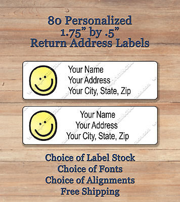 80 Printed Peel & Stick Personalized Return Address Labels ~ Yellow Smiley Face