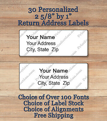 Sheet of 30 Plain Personalized Self Adhesive Printed Return Address Labels