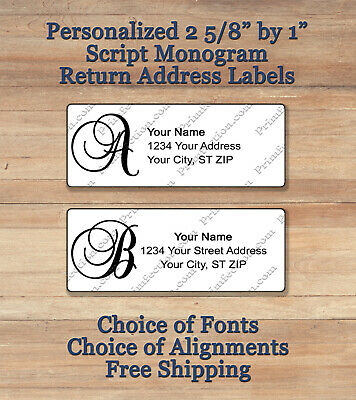 Personalized Printed Peel & Stick Monogram Return Address Labels ~ Script 1