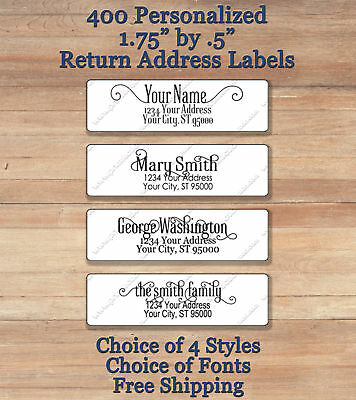 400 Personalized Printed Peel & Stick  Return Address Labels ~ Elegant Script 2
