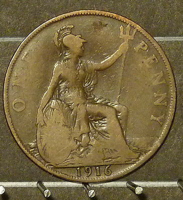 1916 Great Britain Large Penny  Coin     F152