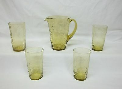 Old Morgantown Crinkle Topaz 34 Ounce Pitcher w/ 4 Tumblers