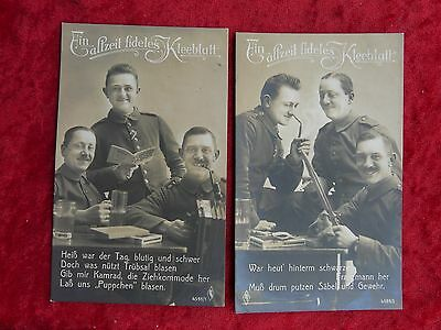 2 Patriotic  German Military Postcards from the same series - Annotated
