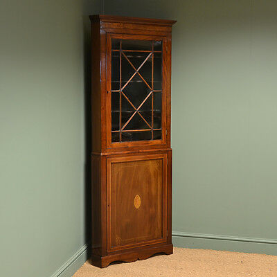 Spectacular Inlaid Mahogany Floor Standing Edwardian Antique Corner Cupboard