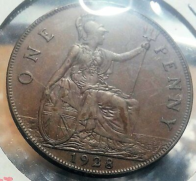 UK (Great Britain) 1928 large Penny Bronze, 31 mm